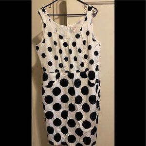 Sleeveless black and white knee length dress